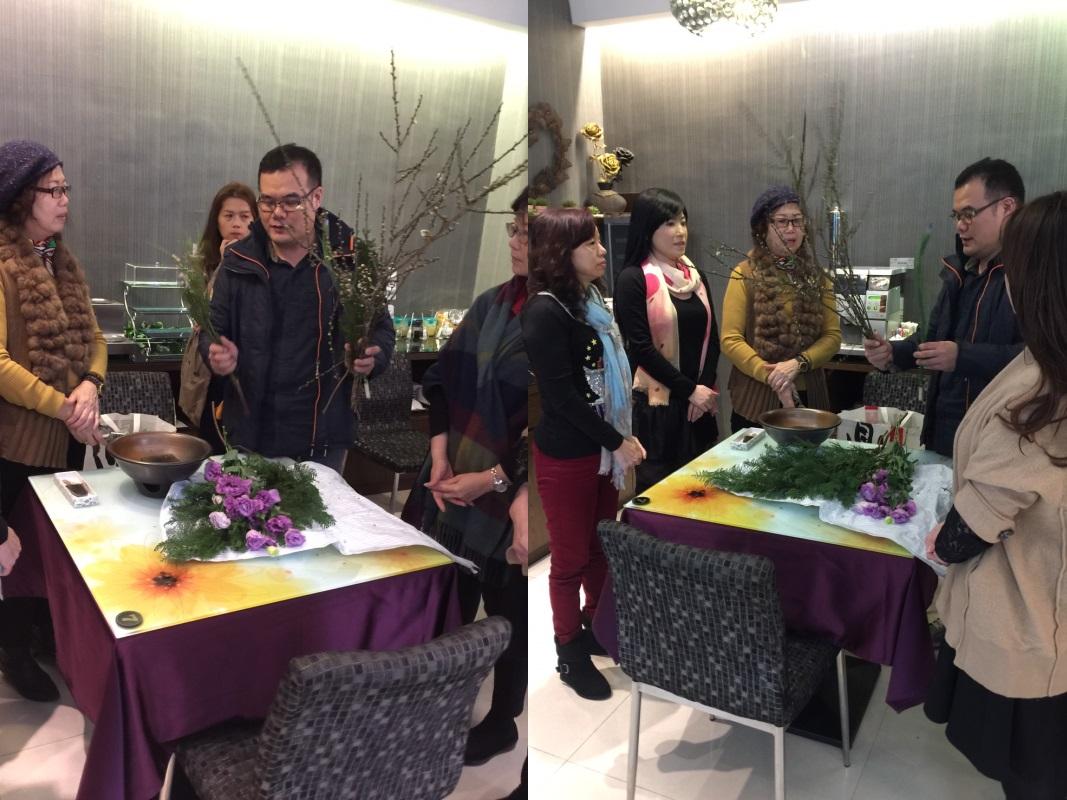 奇美國際商務旅館總監與多位老師各擅不同花藝,今日於中壢齊聚交流。